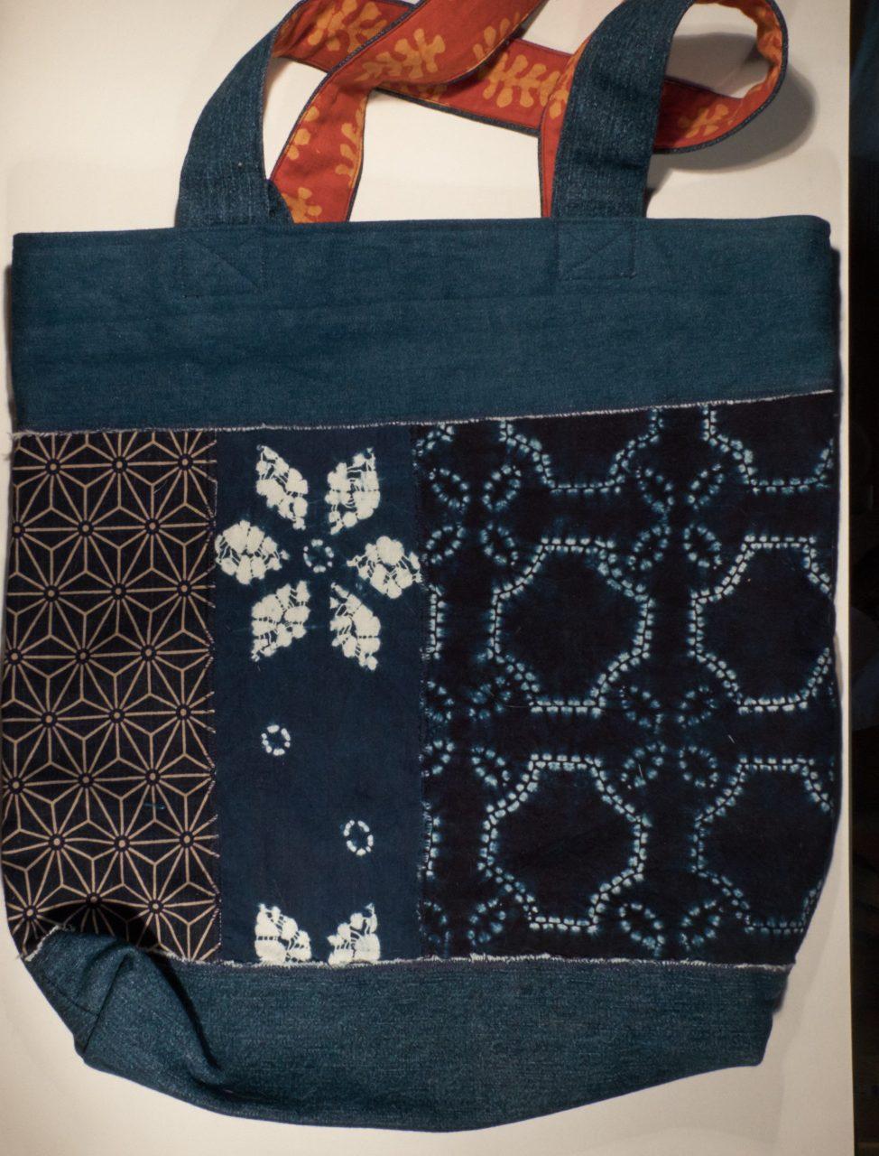 KL003 hand made indigo print tote bag