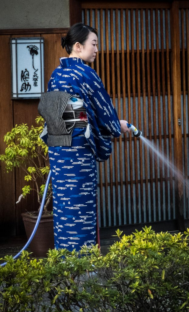 Morning chores in Gion